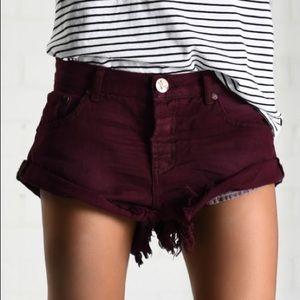 One Teaspoon Shorts - One x Teaspoon Maroon Bandit Shorts (26)